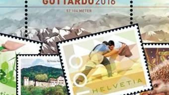 """Die Sonderbriefmarke """"Gottardo 2016"""" ist mit zu Pulver verarbeitetem Gotthardgestein bedruckt. Sie gibt es wie etwa auch die Sondermarke zum Eidgenössischen Schwing- und Älplerfest ab heute bei der Post zu kaufen."""