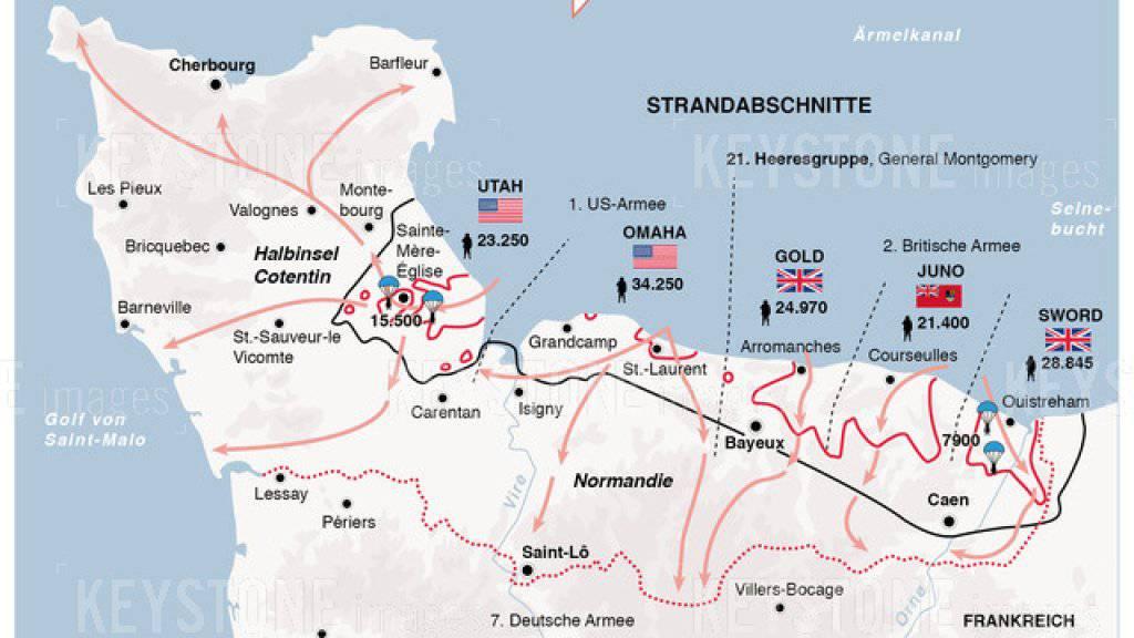 Die Karte zeigt die Landung und den Vormarsch der Alliierten in der Normandie im Juni 1944.