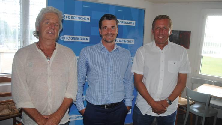 Mit Zuversicht starten die FCG-Funktionäre in die neue Saison: Sportchef Max Rüetschli, Präsident Mike Rüetschli und Sportdirektor Peter Baumann (von links).