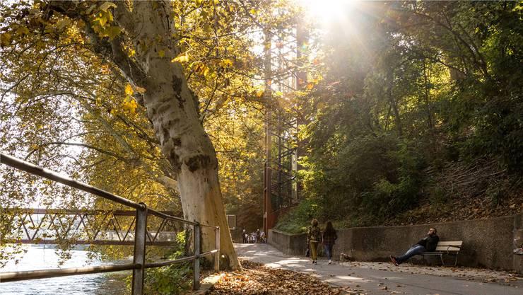 Am Tag einladend, nachts eher etwas unheimlich: Die Limmatpromenade in Baden.
