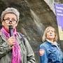 Gabriela Merlini-Pereira (links) verlangte gestern in Aarau die Streichung des umstrittenen Paragrafen. Colin Frei