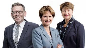 Welche Rolle spielten sie in der Flottenaffäre? Mögliche Leuthard-Nachfolger aus der CVP – Pirmin Bischof, Brigitte Häberli, Viola Amherd (v.l.).