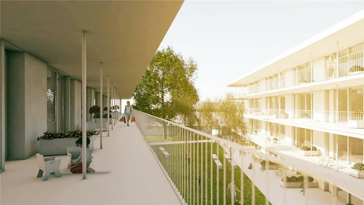 Die Stiftung Wendepunkt baut in Oftringen neben dem bisherigen Angebot am Parkweg noch 54 Wohnungen. (Visualisierung)