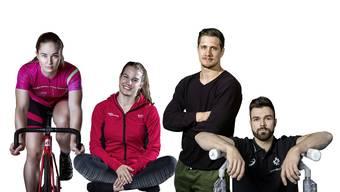 Aline Seitz, Michelle Heimberg, Ciril Grossklaus und Oliver Hegi (v.l.) haben uns in den vergangenen Wochen mitgenommen auf ihre Reisen durch die Sportwelt.