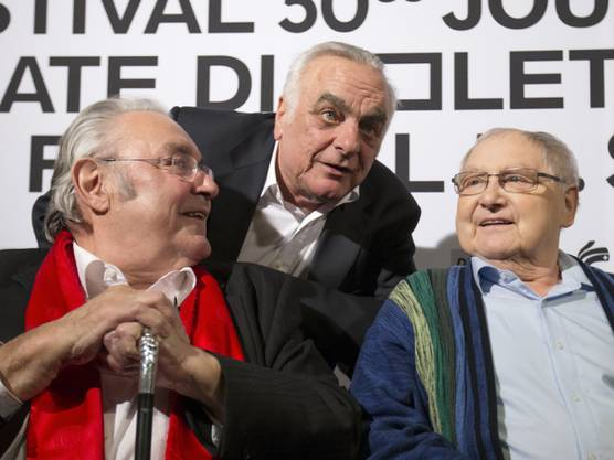 Mathias Gnädinger, Paul Riniker, Jörg Schneider an den Solothurner Filmtagen 2015 (v. l.).