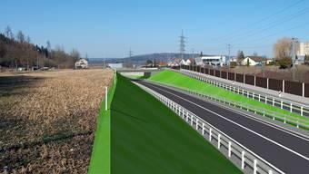 Südwestumfahrung Brugg: Die künftige Situation im Bereich der neuen Kantonsstrasse K 128 Anschluss Windisch