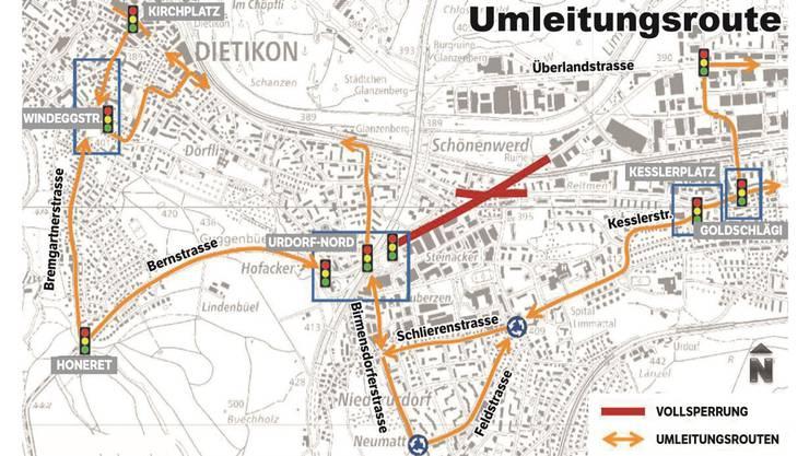 Dieses ungewöhnliche Verkehrsregime in Dietikon, Urdorf und Schlieren gilt ab dem 2. Juli bis Ende August. Es wird massive Auswirkungen auf den Ziel- und Quellverkehr im Limmattal haben. Die Kreuzung wird völlig neu gestaltet.