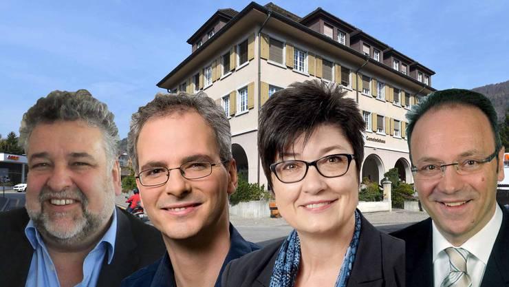 Die Frage, wer im Gemeindehaus künftig das Sagen hat, bleibt spannend. Enzo Cessotto (FDP), Fabian Müller (SP), Christine Rütti (SVP) und Pierino Menna (CVP) wären interessiert.
