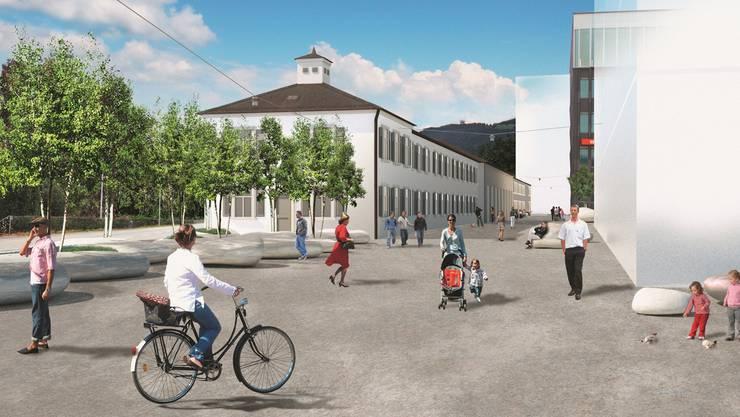 Olten Nord visualisiert: So hat man sich den Südteil des Areals Bahnhof Nord einst vorzustellen.