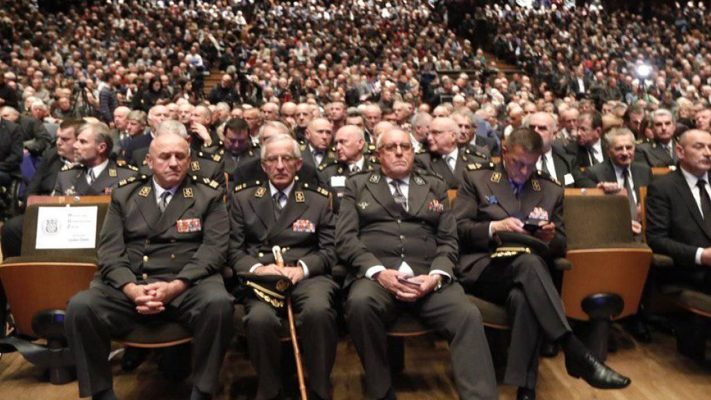 Die grösste Konzerthalle von Zagreb war am Montag überfüllt beim Gedenkanlass für den Kriegsverbrecher Slobodan Praljak.