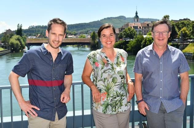 Das sind die Macherin und die beiden Macher des «SommerSpass» (von rechts): Jürgen Hofer (Solothurn Tourismus) , Andrea Portmann (Aargau Tourismus) und Michael Kumli (Baselland Tourismus).