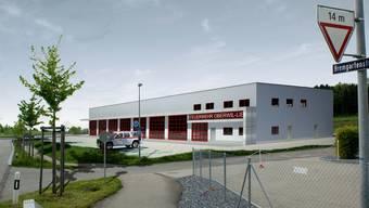 Das neue Gebäude der Feuerwehr Oberwil-Lieli wird beim Dorfeingang Lieli, nahe dem Tunnel, erstellt. Visual-Work AG .