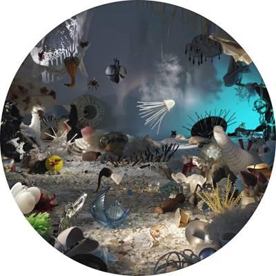 Schöne Fantasy-Welten erfindet der Schweizer Künstler Urs Aeschbach (*1956). Ob farbige Unterwasserwelten oder Dschungelbilder: Es sind Fakes. Gebaut aus Nippes, Haushaltgeräten, Plastikschüsseln, Gläsern. Unser Auge erkennt das in den Installationen sofort – doch durch die Kamera entsteht ein Bild, das eine magisch-schöne exotische Welt vortäuscht – verstärkt durch das runde Format, das Aeschbach seinen Endprodukten gibt.