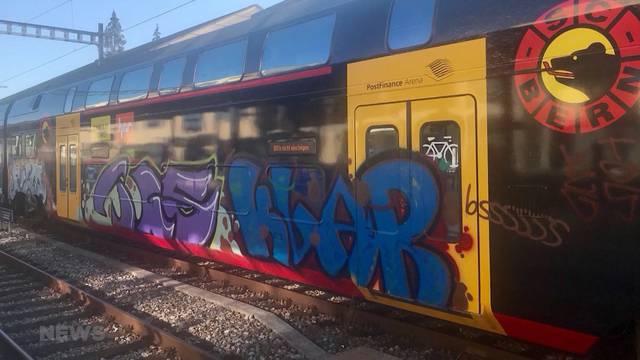SCB-Mutz in Biel versprayt