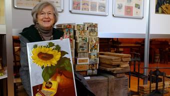 Das Plakat erinnert Monika Villiger an die Begegnungen mit Maler Victor Rutz.
