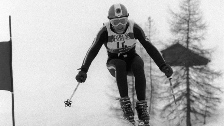 Bernhard Russi 1970 auf seiner Fahrt zu WM-Gold auf der Saslong in Val Gardena.