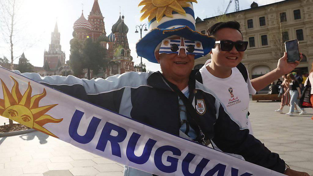 Die Fans aus Uruguay geben sich siegessicher