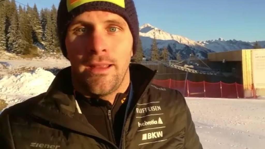 Auch Freestyle-Skier Armin Niederer wirbt für das Kinderskifest in Madrisa.