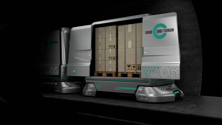 Computerillustration eines Cargo Containers der Firma ''Loglay'' für den unterirdischen Versand von Waren.