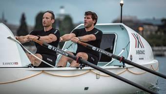 Für ihre Atlantiküberquerung haben Dominic Schaub (links) und Florian Ramp von August bis Oktober auf dem Zürichsee trainiert.
