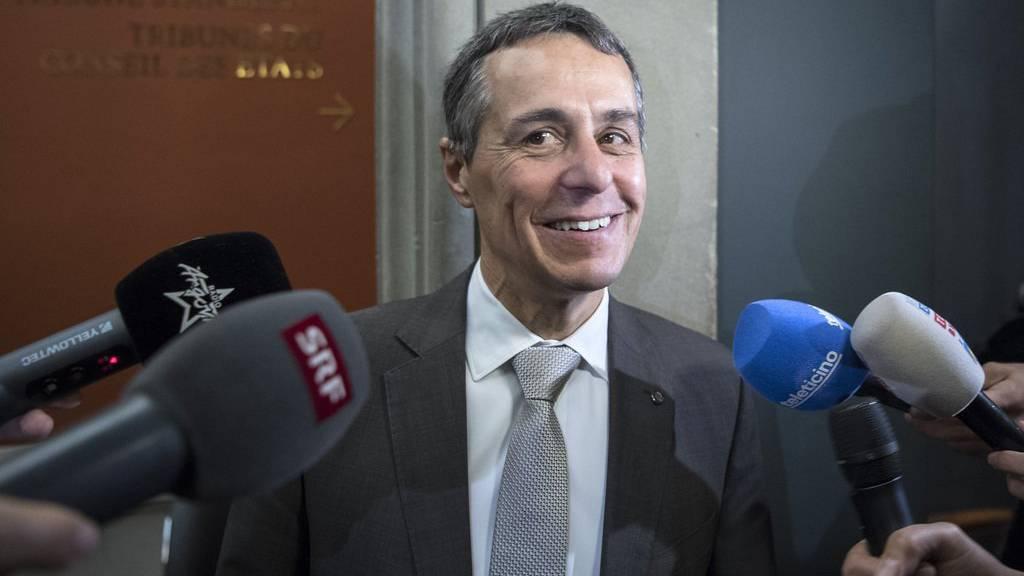 Bundesratskandidat Ignazio Cassis, FDP-TI, wirkte nach den Hearings am Dienstag vergnügt.