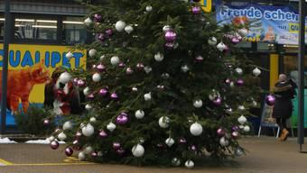 Für Gehbeeinträchtigte ein Ärgernis: Der Tannenbaum beim Fricktal Center A3.