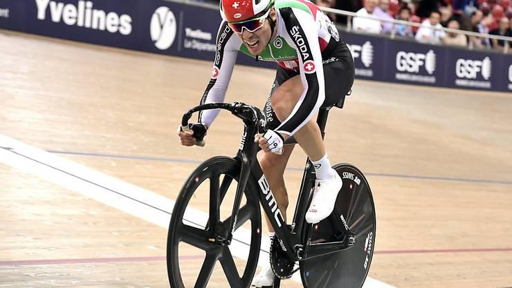 Wieder ein starker Auftritt: Der Schweizer Gaël Suter fuhr beim Weltcup in Kanada als Dritter des Omniums aufs Podest