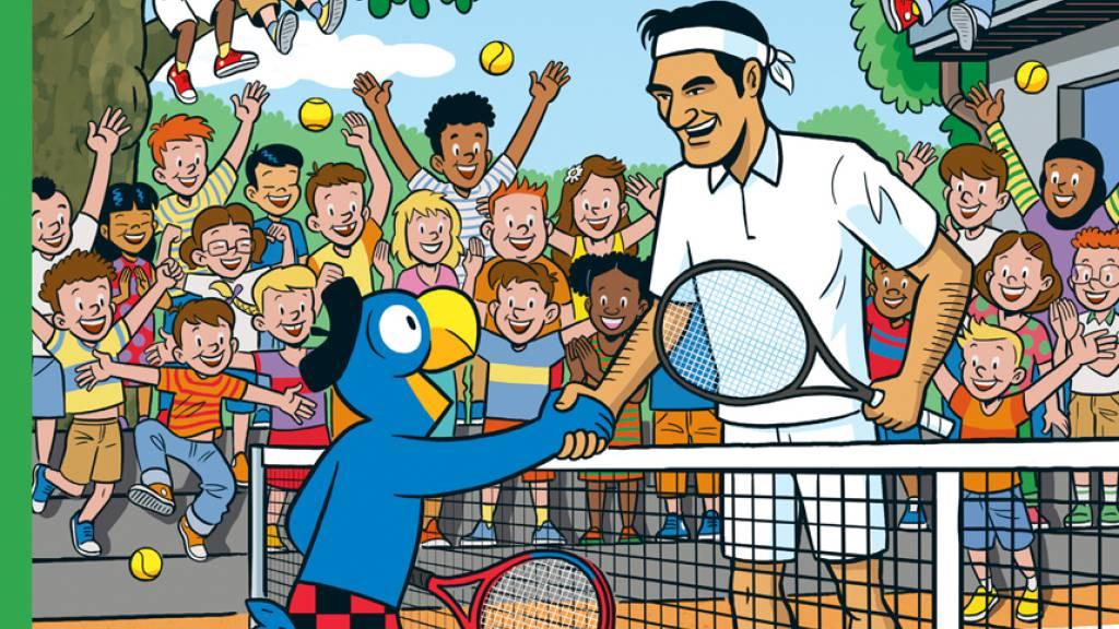 Globi und Roger Federer zusammen auf Abenteuer