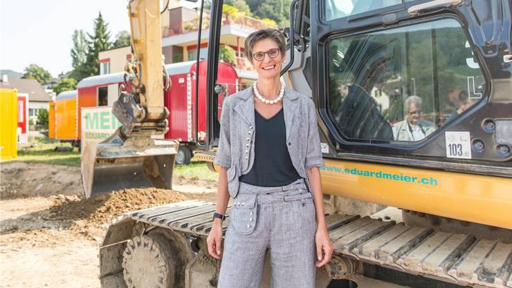 Bernadette Flükiger beim Spatenstich der «Altstadt» im August 2018. Thoma/Archiv
