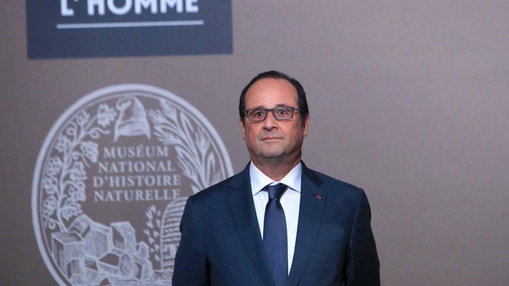 Staatspräsident François Hollande am Donnerstag bei der Wiedereröffnung des Musée de l'Homme in Paris.