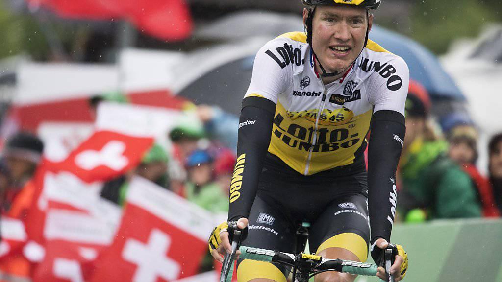 Wilco Kelderman vom Team LottoNL-Jumbo ist in der Gesamtwertung erster Verfolger von Richie Porte