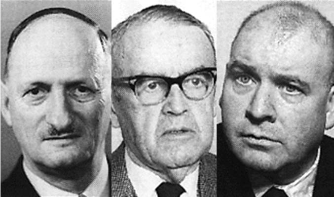Von links: Paul Chaudet (FDP Waadt), Max Petitpierre, (FDP Neuenburg) und Jean Bourgknecht (CVP Freiburg)