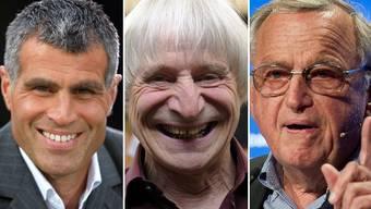 Sie unterstützen die Initiative: Fussballer Andy Egli, Clown Dimitri, Unternehmer Hansjörg Wyss (v.l.)