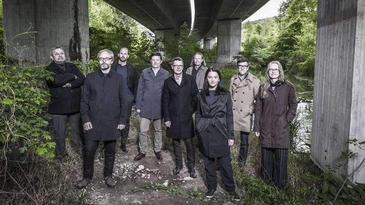 Die Gruppe «Bibergeil» (von links): Rainer Zulauf, Rolf Meier, Martin Leder, Thomas Schneider, Beat Schneider, Lukas Zumsteg, Daniela Valentini, Andreas Graf, Peggy Liechti