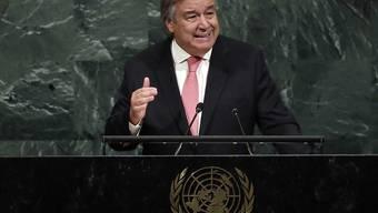 """Uno-Generalsekretär Antonio Guterres hat in seiner Neujahrsansprache angesichts der Konflikte auf der Welt die """"Alarmstufe rot"""" ausgerufen. (Archiv)"""