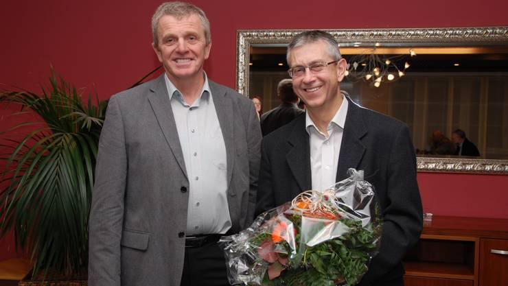 Wechsel im Präsidium Verein Region Thal: Auf Thomas Schwaller (rechts) folgt Bruno Born.