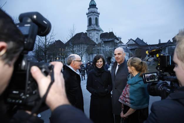 v.l. Felix Gutzwiller, Muriel Zeender-Berset, Bundesrat Alain Berset, Seraina Rohrer