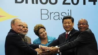 Die Präsidenten der fünf Staaten: Putin, Modi, Rousseff, Xi, Zuma