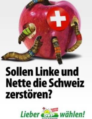 Das besagte umstrittene Apfel-Wurm-Plakat. (Bild: Screenshot SRF)