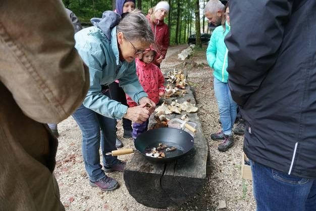 Pilzexpertin Joséphine Graf rüstet die gefundenen Pilze eigenhändig. Die Teilnehmer folgen ihren Erklärungen gespannt.