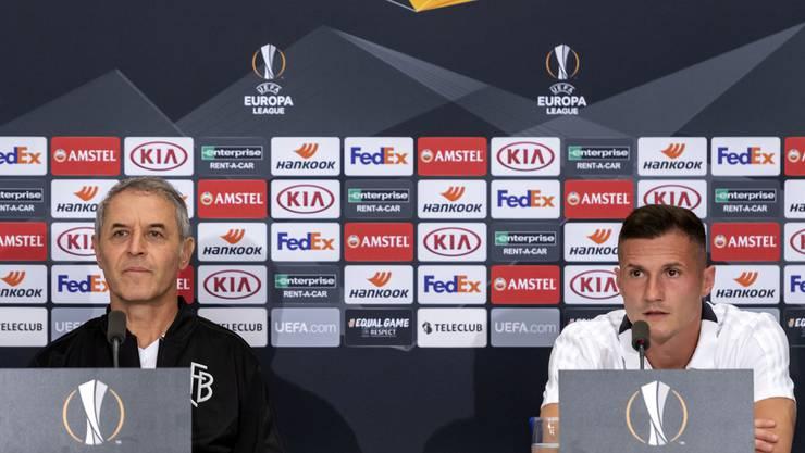 Taulant Xhaka und Marcel Koller standen vor dem Spiel gegen Krasnodar zu Interviews bereit.