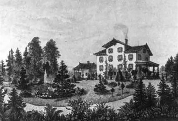 Ein Stich der Villa von 1889 aus Gartensicht.