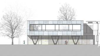 Der neue Annex-Bau (unten) der Sprachheilschule Lenzburg kommt auf den Spielplatz zu stehen.  HH/zvg.