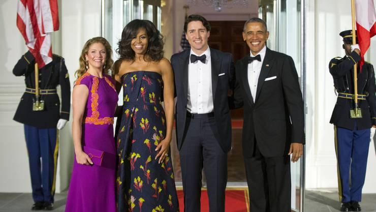 Verbrachten offensichtlich einen lustigen Abend zusammen: Sophie Grègoire-Trudeau, Michelle Obama, Justin Trudeau und Barack Obama (von links) im Weissen Haus