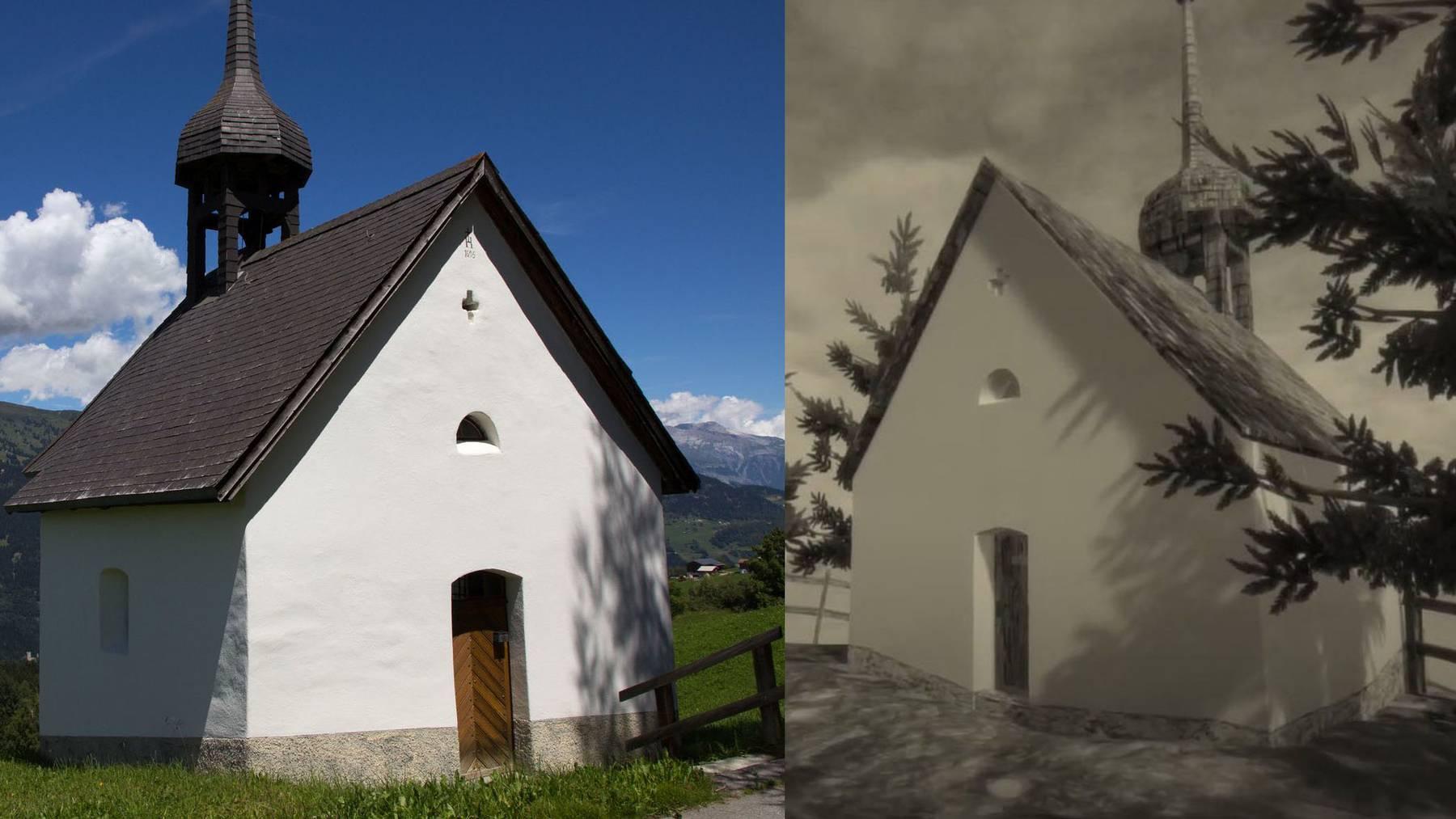 Die Kapelle im Bündner Mundaun (links) und die Kapelle im Videospiel.