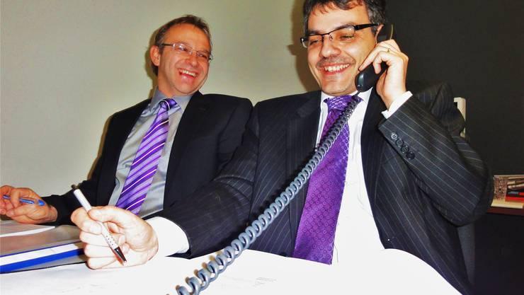 Roberto Di Nino (rechts) und Rolf Meyer hatten nicht nur knifflige Fragen zu beantworten. hml