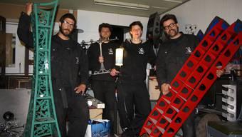 Das Raumformer-Team mit (v.l.) Daniel Kaufmann, Pierre Alain Münger, Eva Furrer und Anton Kaufmann. Auf dem Bild fehlt Tom Moser.