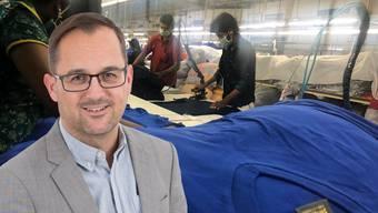 Der indische Textilhersteller Sulochana aus Tirupur stellt die neuen Switcher-Shirts her (siehe rechts), Marc Joss und sein Team verkaufen sie in der Schweiz. Die Sulochana- Fabriken gehören zu den modernsten und fortschrittlichsten Indiens. Marc Joss ist neuer Switcher-Geschäftsführer.