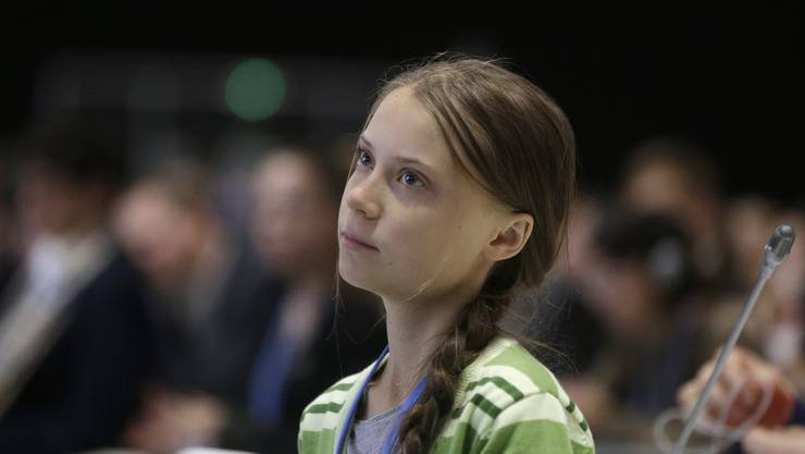 Greta Thunberg vor der UNO in New York.