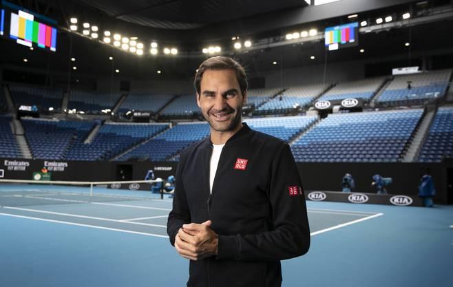 Roger Federer in der Rod Laver Arena.